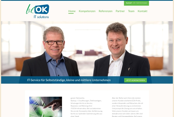 Webdesign Referenz beOK IT solutions