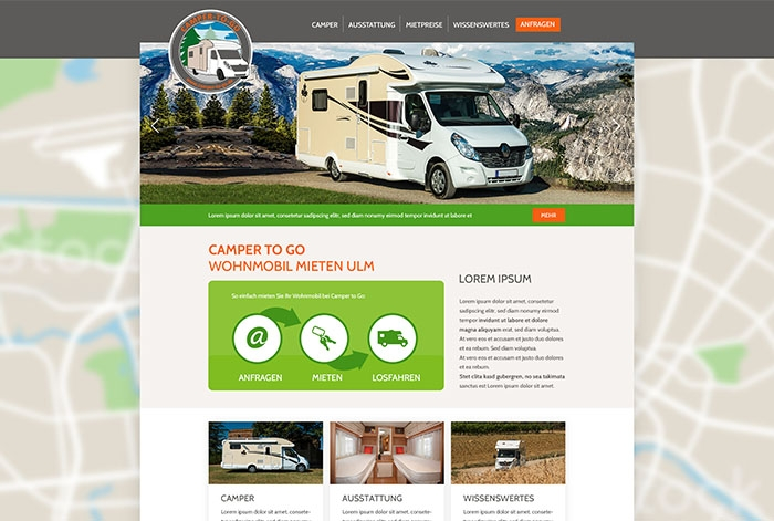 Webdesign Referenz CAMPER TO GO