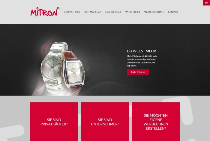 Webdesign Referenz Mitron Watch GmbH