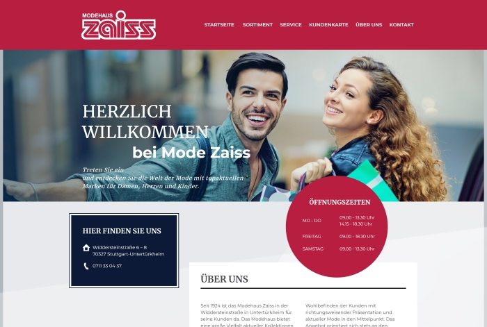 Webdesign Referenz Modehaus Zaiss