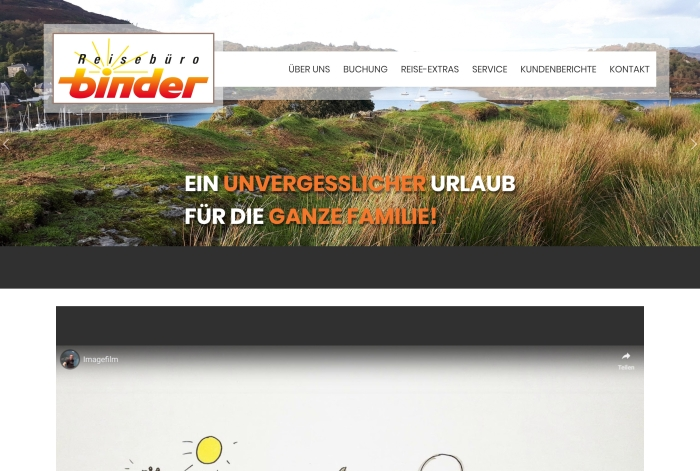 Webdesign Referenz Reisebüro Binder