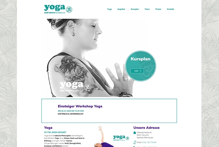 Webdesign Referenz Yoga and more by fabienne